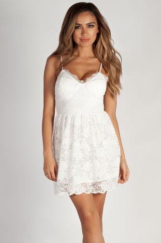 """Me Time"" White Floral Lace Skater Dress"