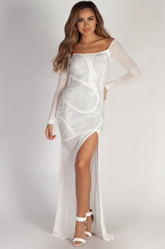 """""""A Night To Remember"""" White Rhinestone Long Sleeve Maxi Gown"""