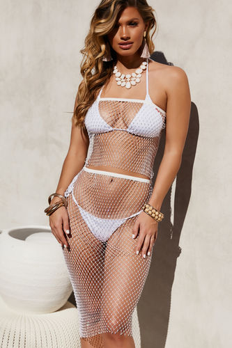 Disco Queen Ivory Rhinestone Tube Top Cover Up
