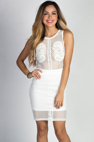 """Artesia"" White Sleeveless Mesh Net & Lace Sheer Top Sheath Dress"