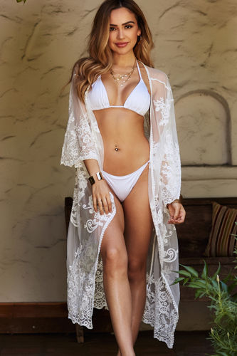 8fd6e7faabb Crochet Coverups. Fiery Empress White Floral Lace Kimono Beach Cover Up