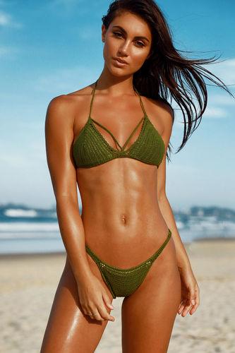 Lemongrass Olive Bikini Top