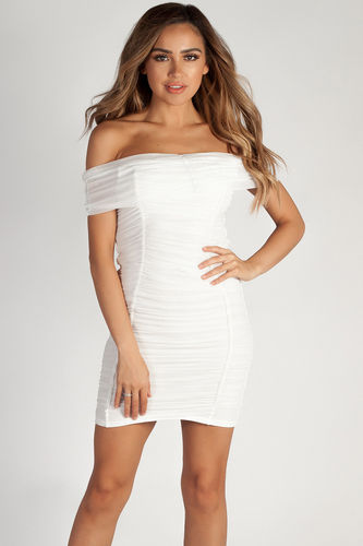 """One Call Away"" Soft White Ruched Off Shoulder Mesh Dress"