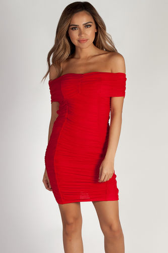 """One Call Away"" Pure Red Ruched Off Shoulder Mesh Dress"