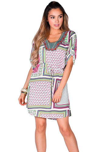 """Irma"" Pink Patchwork Print Embellished Collar Summer Tunic Dress"