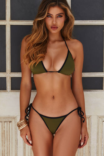 Olive & Black Micro Rise Scrunch Bottoms