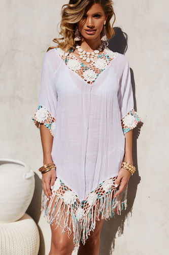 Carnation Confetti Pastel Poncho Beach Cover Up