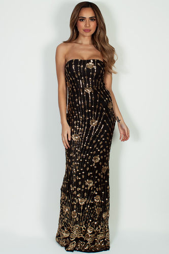 """Vivacious Vibes"" Black & Gold Sequined Maxi Gown"