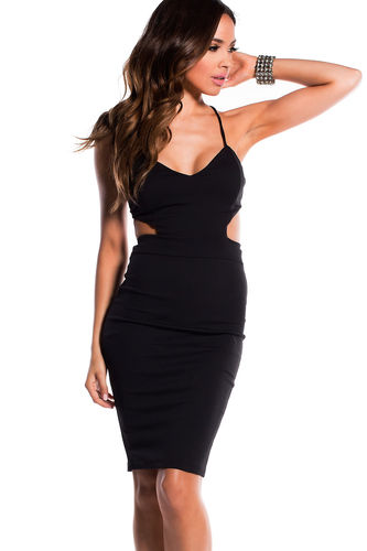 """Venus"" Black Cut Out Bodycon Backless Party Dress"