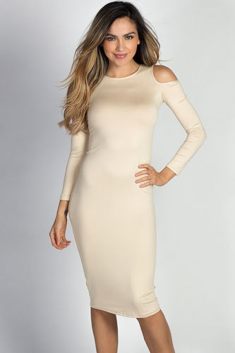 """Lyssa"" Nude Long Sleeve Cold Shoulder Jersey Midi Dress"