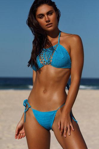 Amaryllis Turquoise Crochet Micro Rise Bikini Bottom