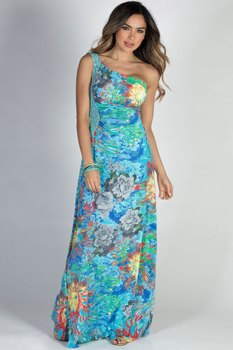 """""""Island Nights"""" Blue Floral Print One Shoulder Jeweled Lace Tropical Maxi Dress"""