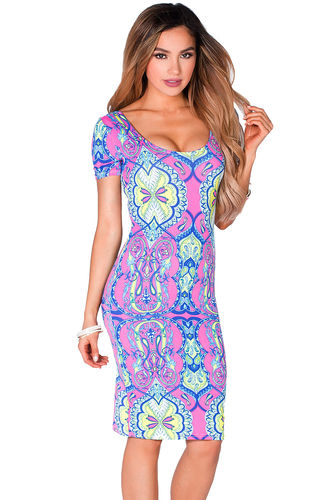 """""""Inez"""" Pink & Lime Print Short Sleeve Jersey Bodycon Casual Dress"""