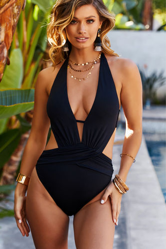 Anemone Black Deep V Cutout One Piece Swimsuit