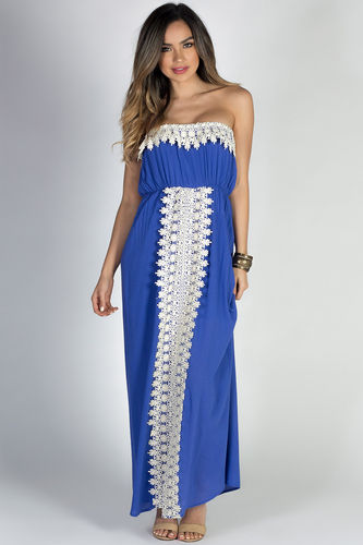 """Daydreamer"" Blue Strapless Maxi Dress with Crochet Lace Trim"