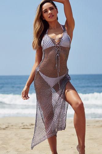 ede541fddb2a6 Antonelli Metallic Gunmetal Maxi Dress Cover Up. 52$69.99 · Rosebud Blush  Strappy Caged Halter Bandeau Bikini Set - Size