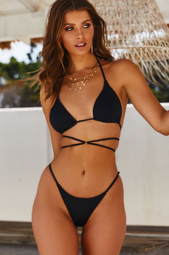 Black Strappy Triangle Bikini Top