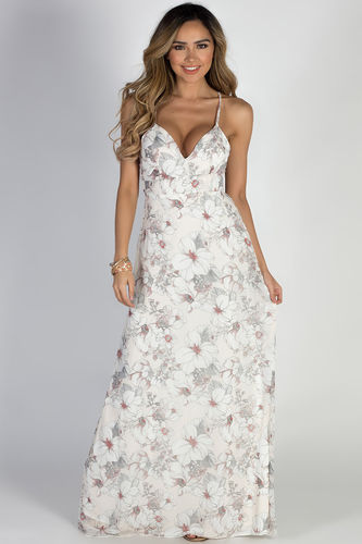 """""""Great Gatsby"""" Ivory Floral Hibiscus Print Maxi Dress"""