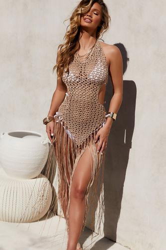 Tri-Coastal Beige Fringe Maxi Dress Cover Up
