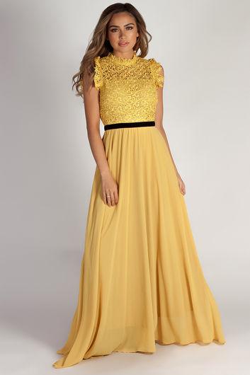 """Blissful Beauty"" Mustard High Neck Crochet Lace Maxi Dress"