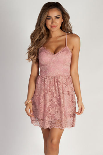 """Me Time"" Blush Floral Lace Skater Dress"