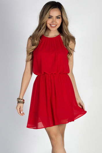 """""""By Your Side"""" Red Short Chiffon Dress"""