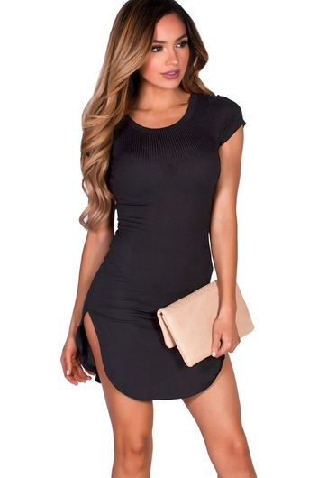 """Ciara"" Black Ribbed Jersey Short Sleeve Bodycon Casual Tunic Dress"
