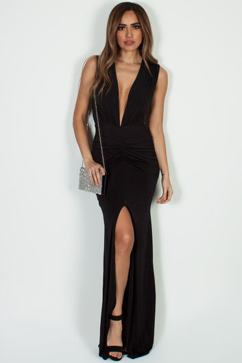 """Deep End"" Black Ruched Maxi Gown w/ High Front Slit"