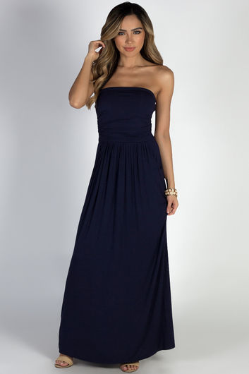 """California Sun"" Navy Strapless Tube Top Maxi Dress"