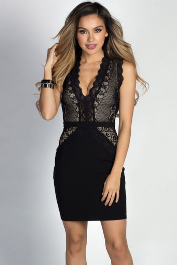 """""""Raeanne"""" Black Sleeveless Plunging Lace Cut Out Cocktail Dress"""