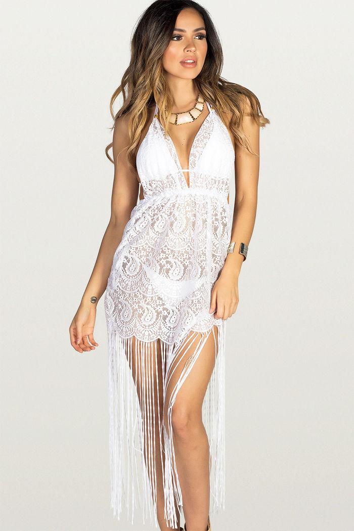 765741eaac Sweet Dream White Lace Fringe Halter Beach Dress Cover Up - DOLL
