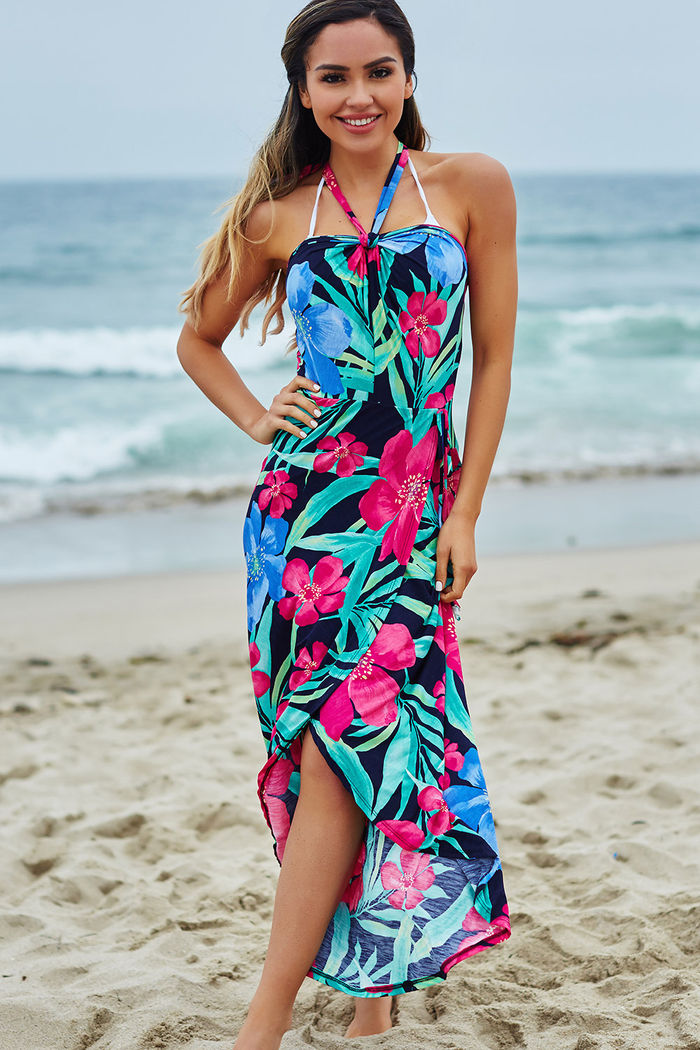 52c4661054 Rheingold Navy Tropical Print Wrap Style Maxi Beach Dress - DOLL