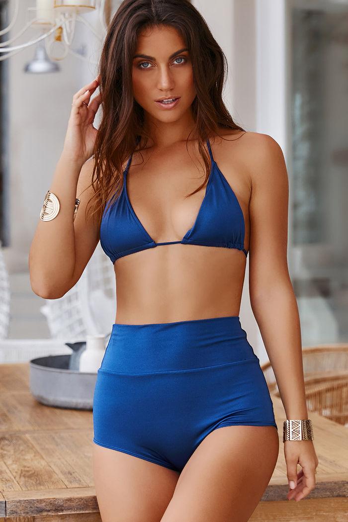 2c1765ab0c Waikiki Navy Blue High Waist Scrunch Bikini Bottoms - DOLL
