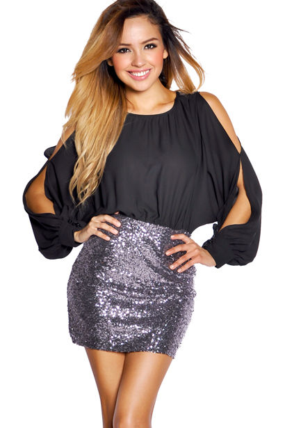 f3233fbde Black and Charcoal Silver Sequins Open Shoulder Chiffon Dress - Babe ...