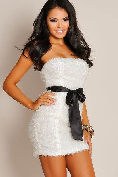 7a8a06ebe8a Seductive Ivory White Strapless Mesh Ruffle Tube Top Dress - Babe ...