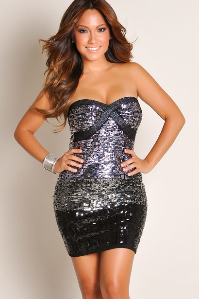 c0fa5850 Sequined Silver and Black Sweetheart Neckline Strapless Party Mini Dress  image