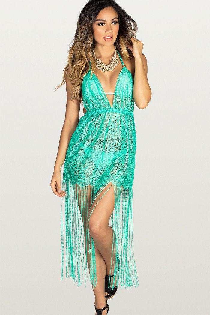 d6a62fc5c7 Sweet Dream Mint Lace Fringe Halter Beach Dress Cover Up - DOLL