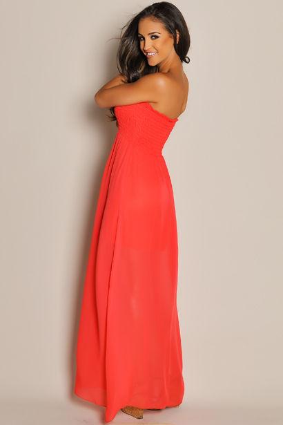 f954c5ef381e Strapless Red Orange Chiffon Maxi Dress - Babe Society
