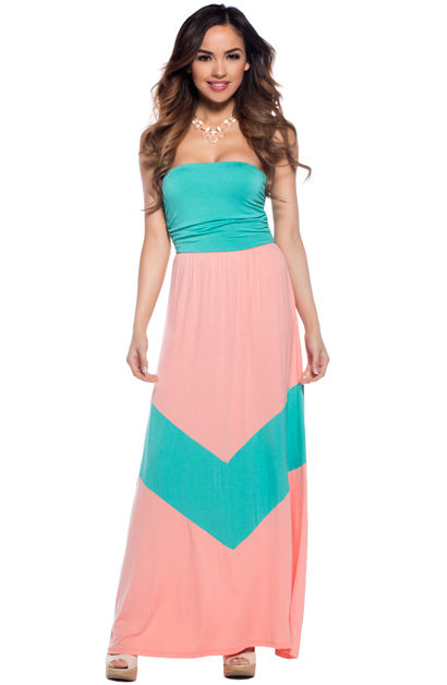 64f5f5e5612d Cute Coral and Mint Green Tube Chevron Maxi Dress - Babe Society
