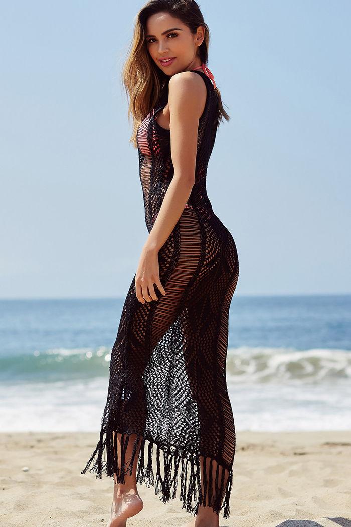 679ae0f1fb5 Chianti Black Fringed Crochet Maxi Beach Dress Cover Up - Babe Society