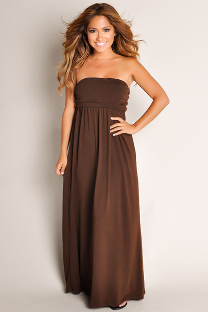 0f3241b558 Cute Chocolate Brown Summertime Glam Flowy Solid Color Tube Top Maxi Dress  image