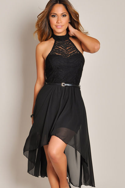 4cf82cf1f9e Sleeveless Black Dream Angel Belted Lace High Low Dress - Babe Society