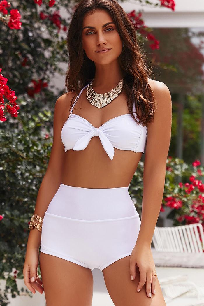 feba9ddebc Waikiki White High Waist Scrunch Bikini Bottoms - DOLL