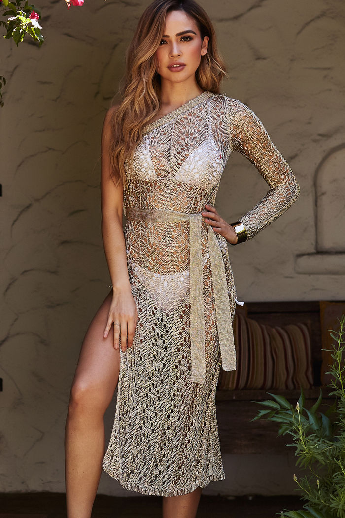 8f2ce85fc2 Gold Sheer Metallic Crochet One Shoulder Cover Up - DOLL Wholesale