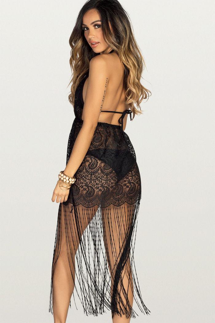 0147d06f69 Sweet Dream Black Lace Fringe Halter Beach Dress Cover Up - DOLL