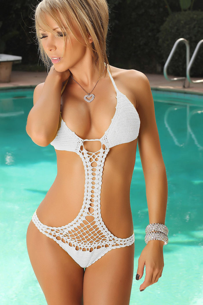 Jacaranda White Sexy Crochet Monokini Scrunch Bottom One Piece