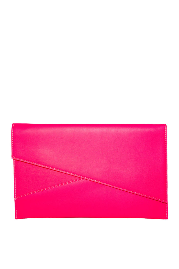 shop best sellers uk store fantastic savings Neon Pink Asymmetrical Envelope Clutch