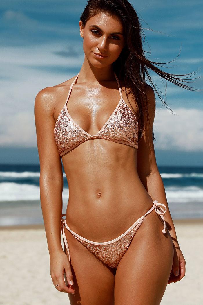 b23ad3a7bbe Vegas Rose Gold & Blush Fixed Triangle Sequin Bikini Top - DOLL