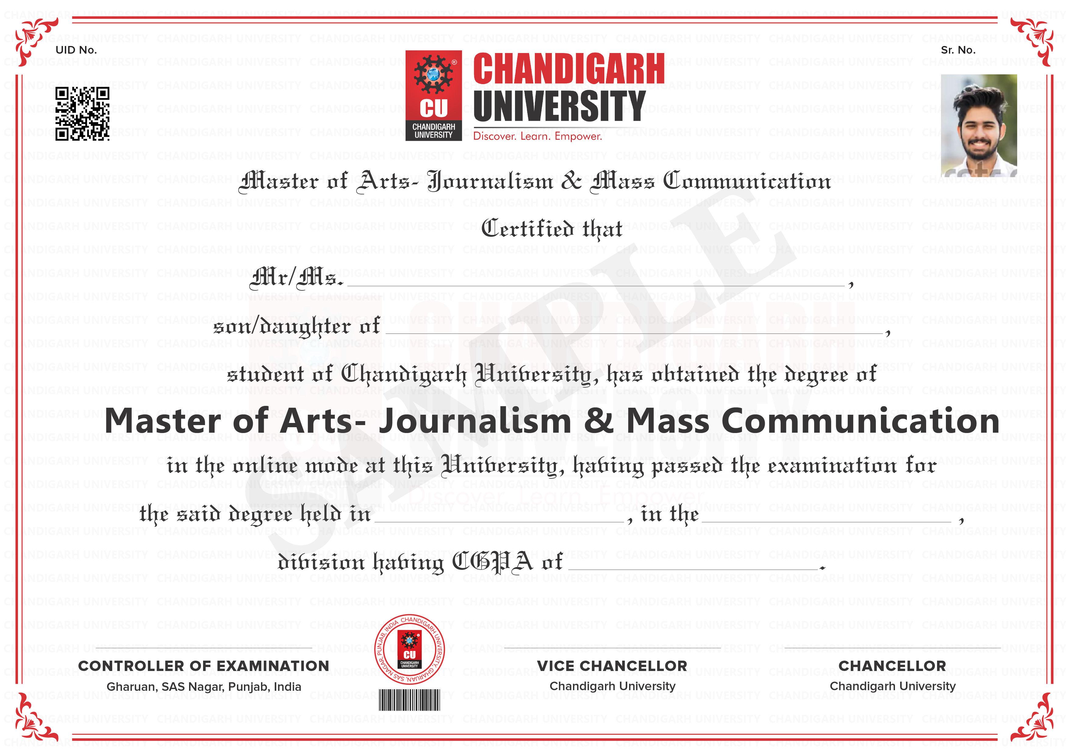 Master of Arts - Journalism & Mass Communication