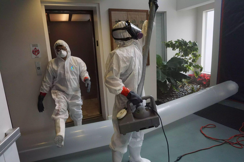 Onsite Image of EcoWater employee in Hazmat suit